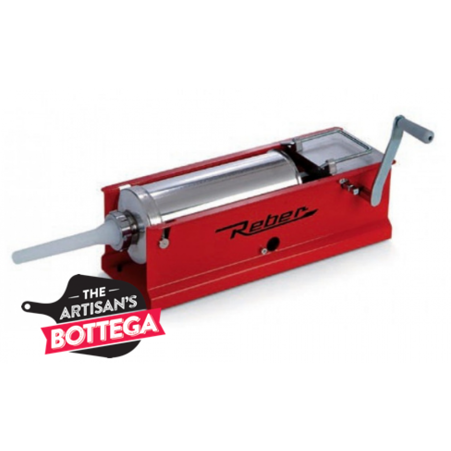 Reber sausage filler 5 Kg with horizontal red frame and 2 speed gears.