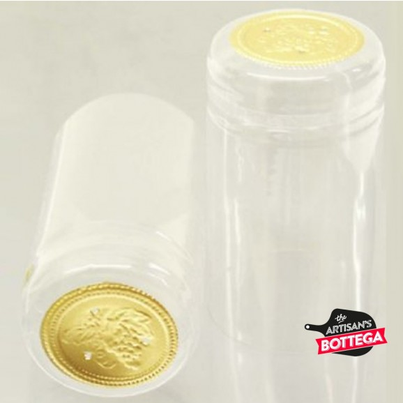Heat Shrink Capsule Clear with Gold Top 35x60mm