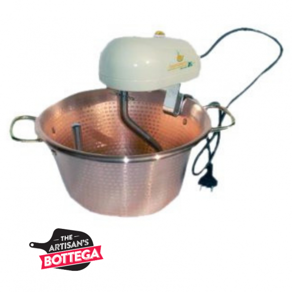 Copper pot with electric stirrer