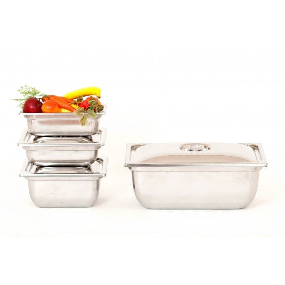 SICO Vacuum Food Containers Stainless Steel Medium Square Ht14cm