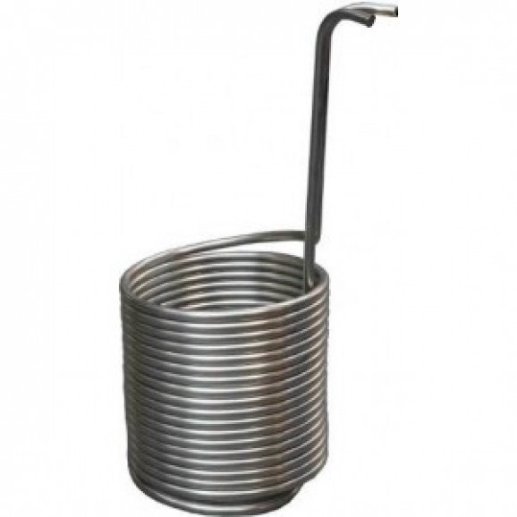 S/S Immersion Chiller Tube 12mm x 14mt Lower into Boiler to Chill Wort. 19mm BSP Outlets f/m