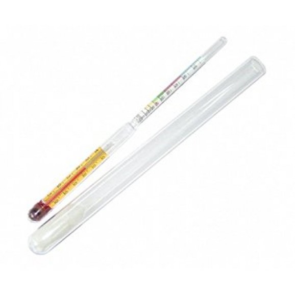 Alcohol Hydrometer 0 - 100% 35cm Long with Thermometer