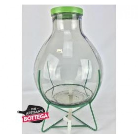 Wide Neck Demijohn on Stand with Tap for Vinegar