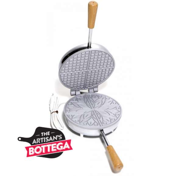 CBE Electric Pizzelle Waffle Maker Round Top Classic Bottom
